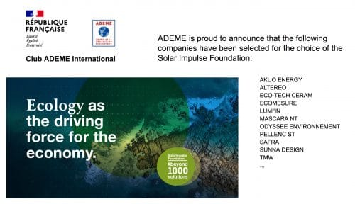 Ecology as a driving force for the economy! ADEME and Solar Impulse Foundation