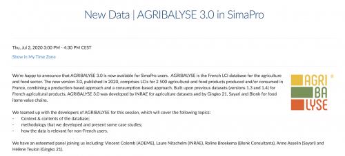 Webinair (full english) sur Agribalyse 3.0 à destination des utilisateurs de SimaPro à l'échelle internationale – Jeudi 2 juillet !