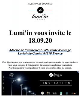 LUMI'IN Inaugure ses nouveaux locaux vauclusiens : Invitation pour le Vendredi 18 septembre 2020