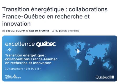Transition énergétique : collaborations France-Québec en recherche et innovation
