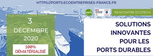 Le 3/12/20 inRencontre Ecotech Solutions innovantes pour les Ports durables avec le PEXE et l'ADEME