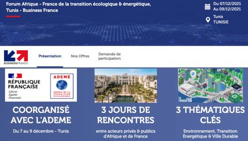 1er Forum Afrique France de la Transition Écologique et Energétique. Tunis du 7 au 9/12/2021