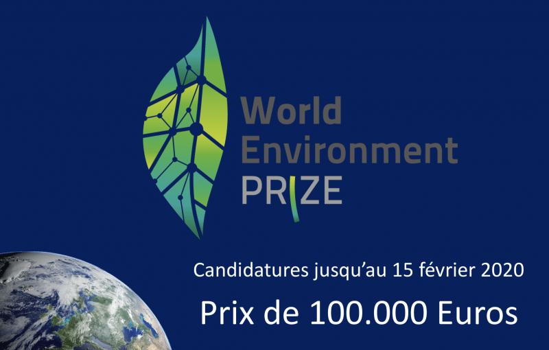 World Environment Prize – Participation jusqu'au 15 février 2020
